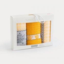 Komplet kuchenny dwóch ścierek 50x70 + ręcznik kuchenny 30x50 wz. podwieczorek musztardowy