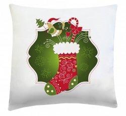 Poduszka świąteczna 40x40 wz. Skarpeta świąteczna