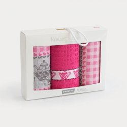 Komplet kuchenny dwóch ścierek 50x70 + ręcznik kuchenny 30x50 wz. podwieczorek fuksja
