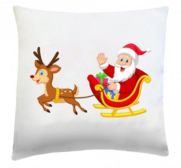Poduszka świąteczna 40x40 wz. Mikołaj na saniach