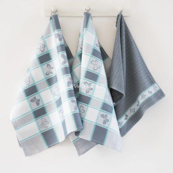 Komplet kuchenny dwóch ścierek 50x70 + ręcznik kuchenny 30x50 wz. motyle zmierzch
