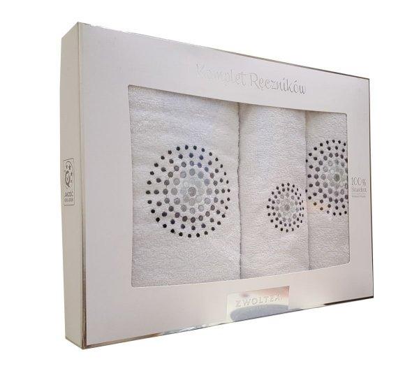 Trzyczęściowy komplet ręczników Banan w pudełku - Iluzja biała