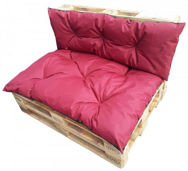 Komplet poduszek ogrodowych na palety 120x80 + 120x40 wz. Bordowy