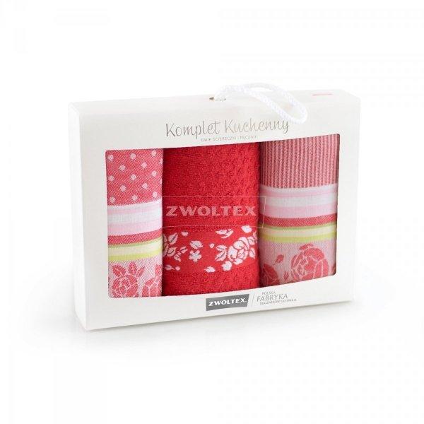 Komplet kuchenny dwóch ścierek 50x70 + ręcznik kuchenny 30x50 wz. ROZA czerwony