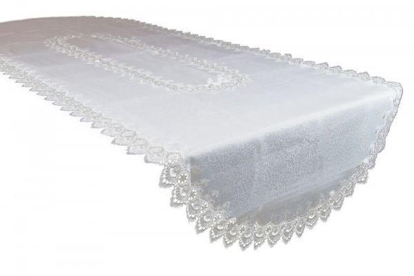 Obrus gipiurowy rozmiar 140x180 owal wzór biały (088 ov)