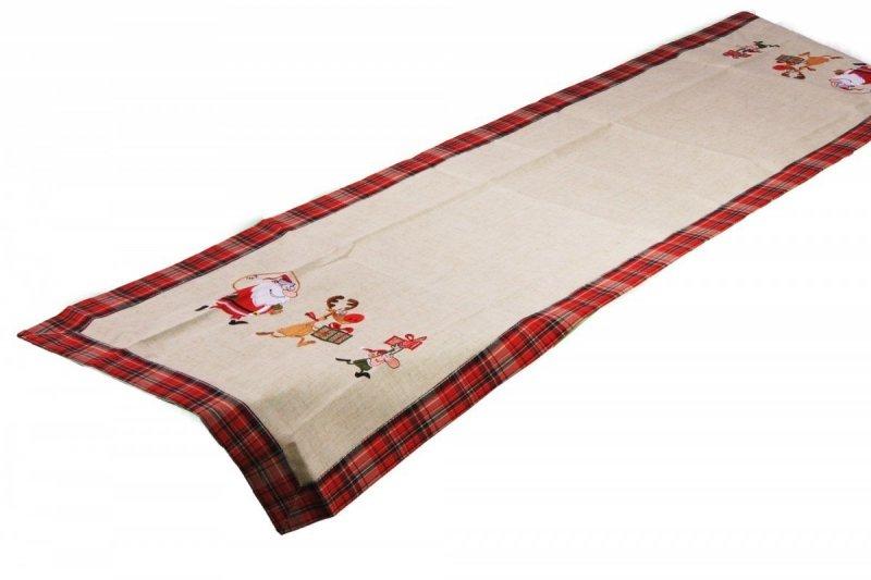 Świąteczny obrus haftowany NIKO rozmiar 40x170 wzór 1114