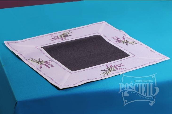 Ozdobny obrus haftowany rozmiar 40x40 cm Lawenda Kolor: biało-czarny