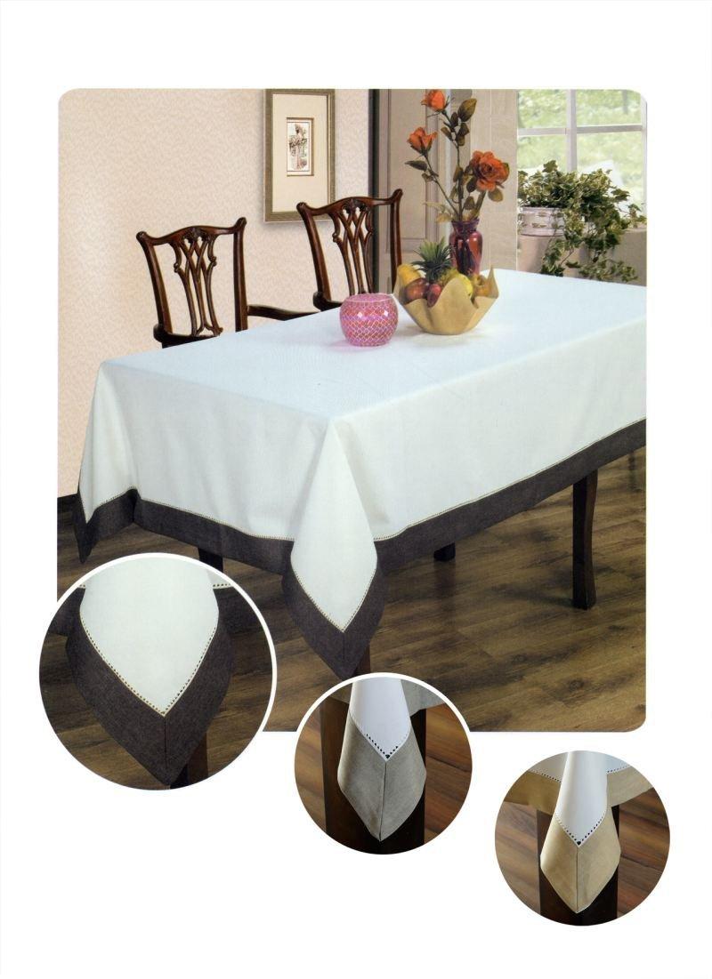 Obrus z mereżką rozmiar 150x220 wzór biało/czekoladowy (211)