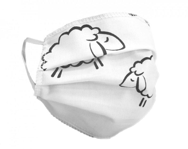 Maska ochronna 2-warstwowa 100% bawełny - wielorazowa 60°C wz. 11 BARANKI BIAŁE