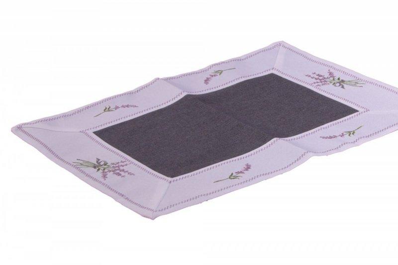 Ozdobny obrus haftowany rozmiar 35x45 Lawenda Kolor: biało-czarny