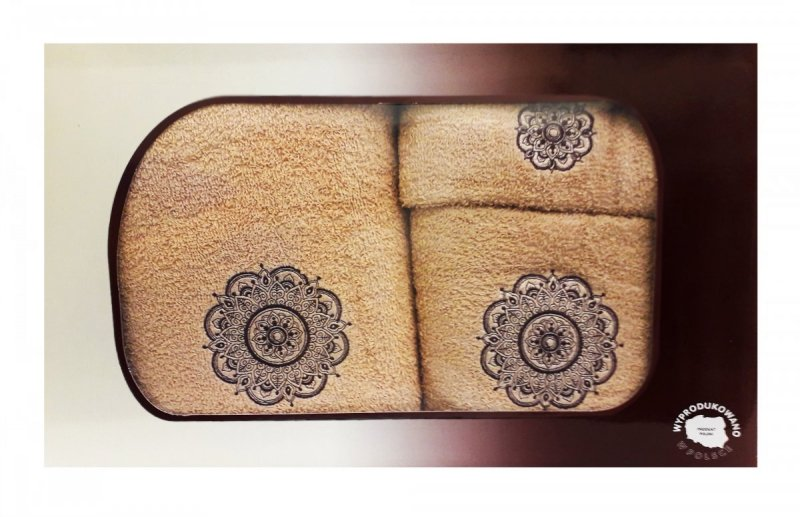Trzyczęściowy komplet ręczników 70x140, 50x90 oraz 30x50 w pudełku 100% bawełna - wz. 3SNU-06