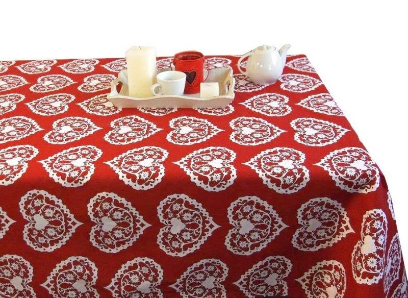 Obrus Romance Andropol rozmiar 160x220 wzór czerwień biel