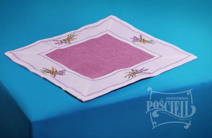 Ozdobny obrus haftowany rozmiar 30x30 cm Lawenda Kolor: biało-fioletowy