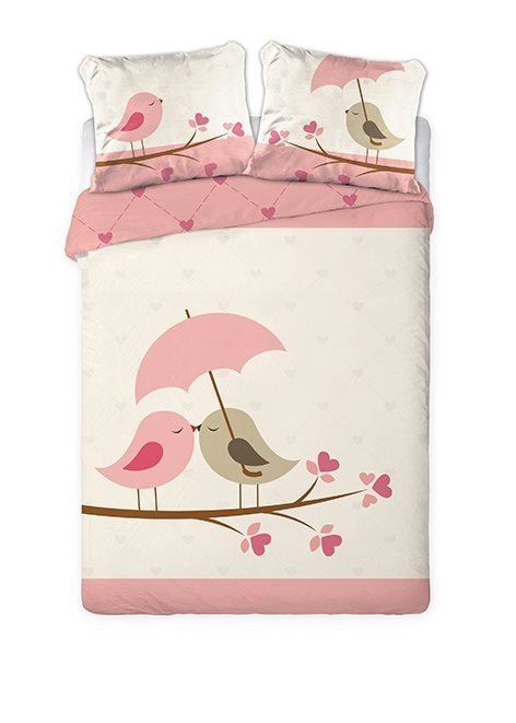 Pościel Walentynkowa 100% bawełna 160x200 lub 140x200 - ptaszki 03