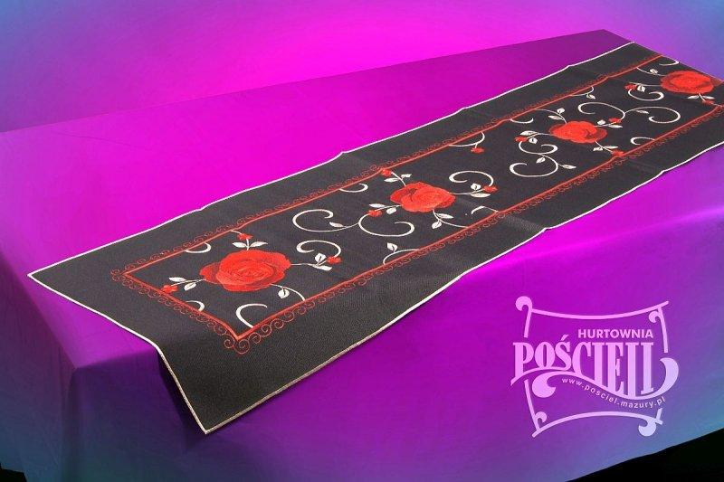 Obrus FLAMENCO 85x85 haftowany, kolor: czarny