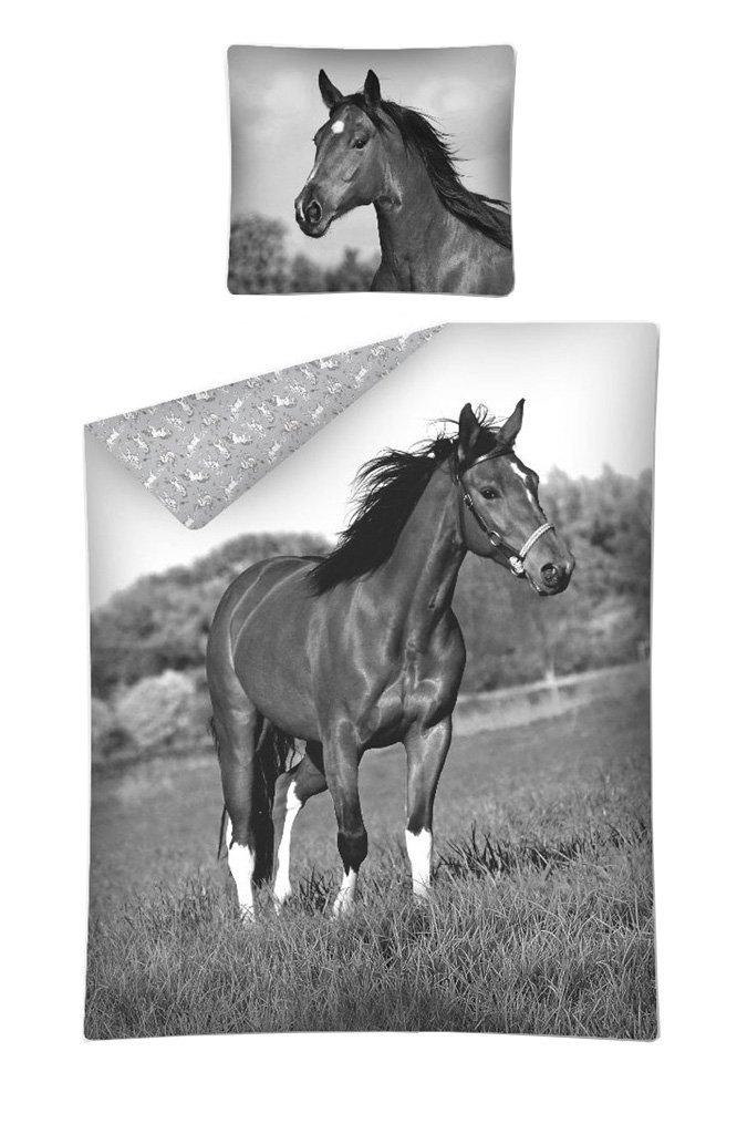 Pościel młodzieżowa 100% bawełna 160x200 lub 140x200  -  wzór: konie 2675A