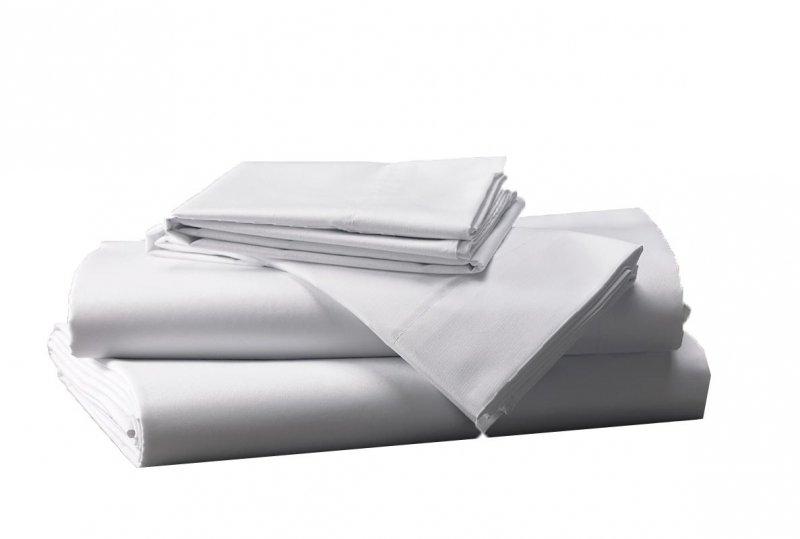 Prześcieradło białe hotelowe NORIS 200x200 100% bawełna