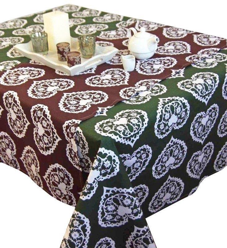 Obrus Romance Andropol rozmiar 160x200 wzór zieleń biel