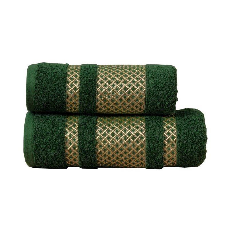 Ręcznik Lionel 70x140 kolor ciemno zielony; butelkowy ze złotą bordiurą