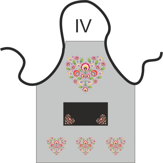 Fartuch kuchenny - Ludowy Łowickie wzory 60x80 Kolor szary  wz.020