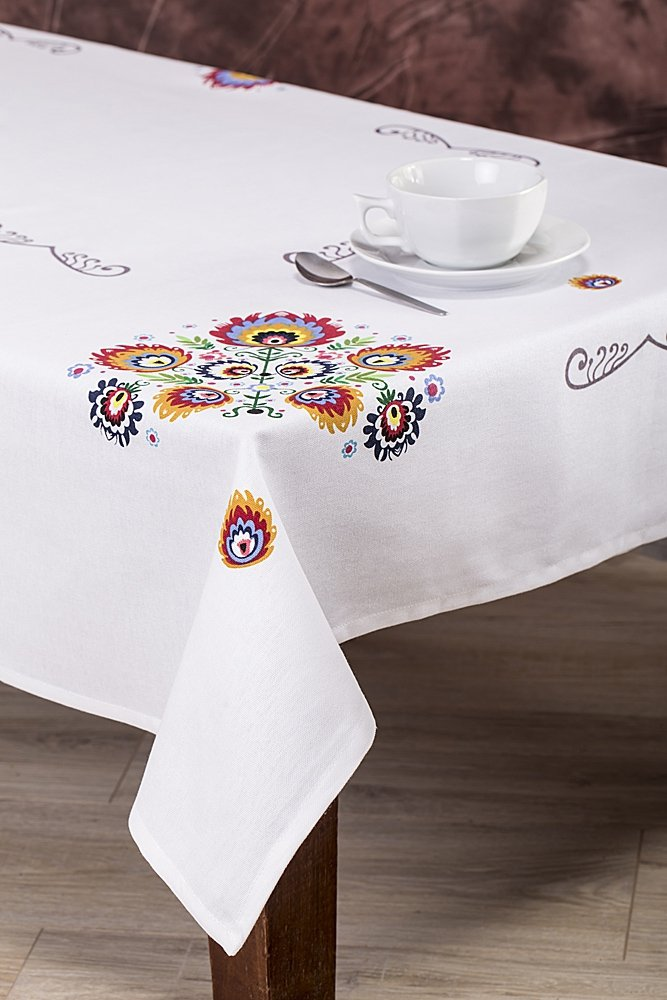 Obrus LUDOWY 010 Łowickie wzory 90x150 biały