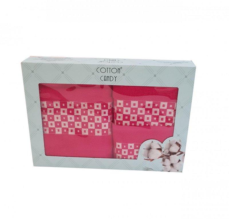 Trzyczęściowy komplet ręczników w pudełku 100% bawełna - popiel wz. DUMAN-3002 kolor ciemny róż