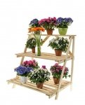 Blumentreppe Pflanzentreppe Etagenregal Blumenregal Gartenregal aus Holz, RP-02, unbehandelt, 90x85x67 cm
