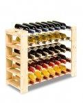 Weinregal für 35 Flaschen, Massiv RW-5-1 (80x30x58,5), Unbehandelt, Erlen, Braun