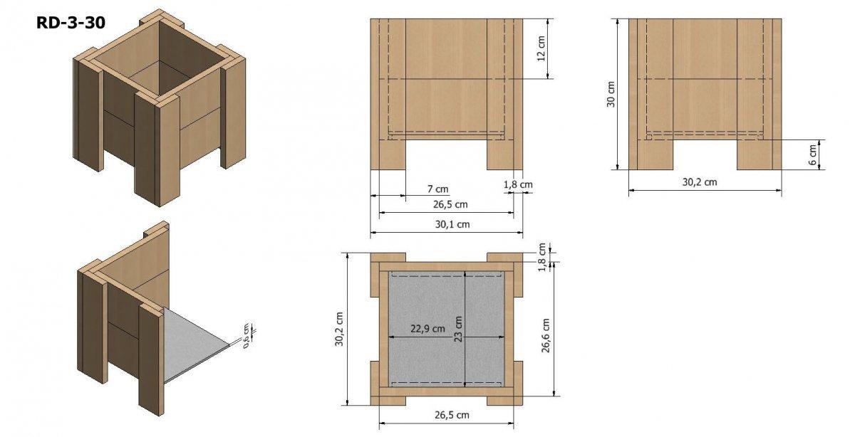 blumenk bel aus holz serie rd 3 3 30x30x30 blumenkasten und hochbeete. Black Bedroom Furniture Sets. Home Design Ideas