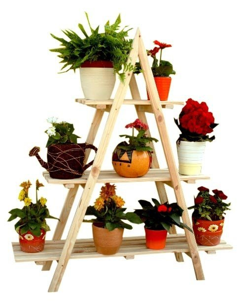 Blumentreppe Pflanzentreppe Etagenregal Blumenregal Gartenregal aus Holz, RP-01, unbehandelt, 108x101x26 cm