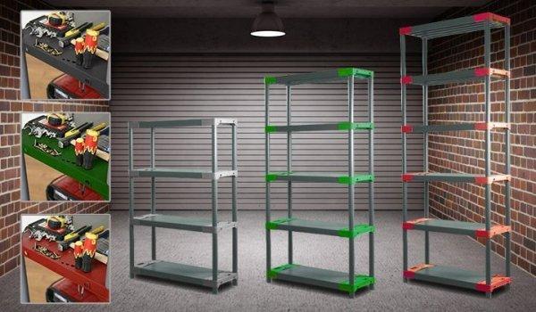Plastikregal Kunststoffregal Steckregal  Tytan-6-100 (222x100x46), 6 Böden, 3 Farben