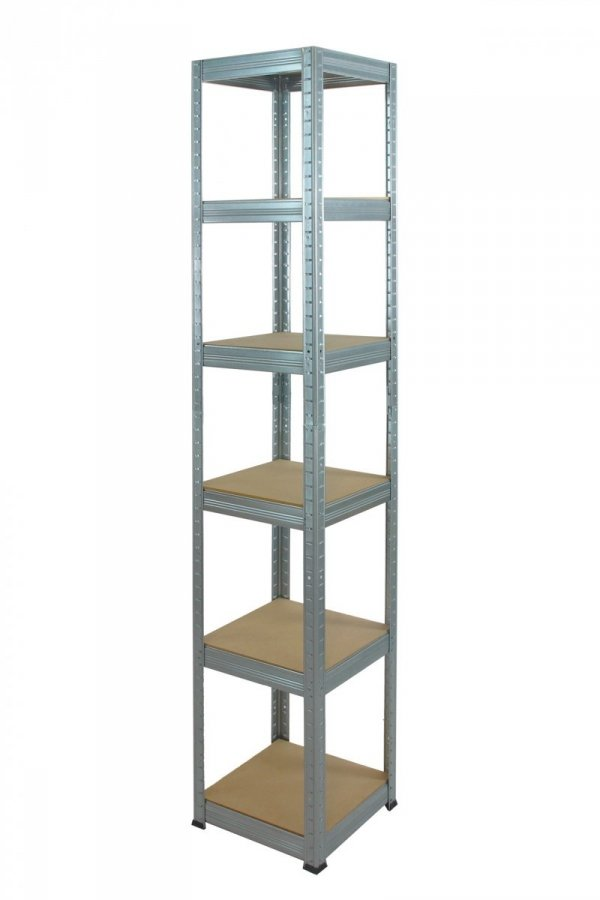 Metallregal Steck-Lager- Schwerlastregal bis 175 kg pro Boden , verzinkt , HZ_196x045x45, 6 Böden, Quadratisch