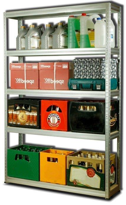 Metallregal Steck-Lager- Schwerlastregal bis 400 kg pro Boden , verzinkt , HZ_180x120x30, 5 Böden