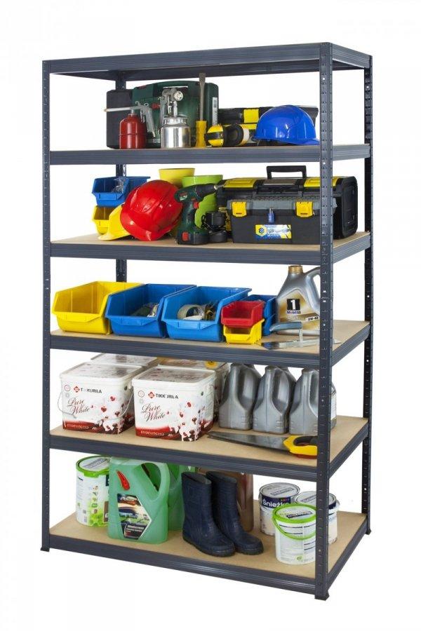 Metallregal Werkstatt Schwerlastregal Helios 196x110x60_6 Böden, Tragkraft bis 400 Kg pro Boden,  Viele Farben zur Auswahl
