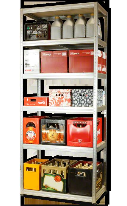 Metallregal Steck-Lager- Schwerlastregal bis 400 kg pro Boden , verzinkt , HZ_196x075x45, 6 Böden