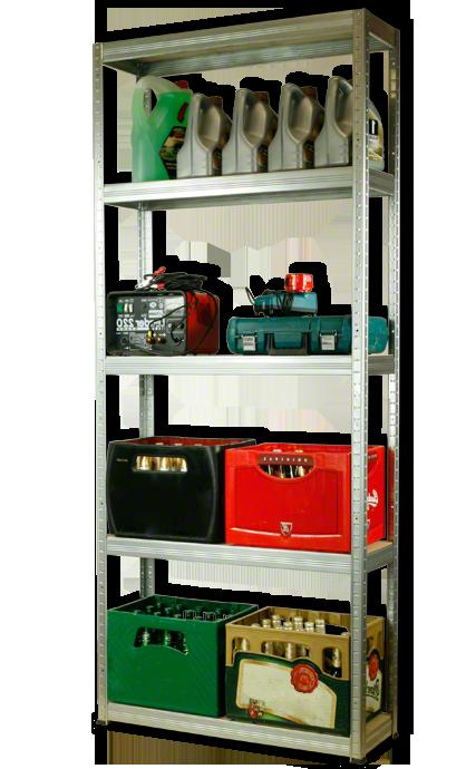 Metallregal Steck-Lager- Schwerlastregal bis 400 kg pro Boden , verzinkt , HZ_213x110x35, 5 Böden