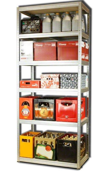 Metallregal Steck-Lager- Schwerlastregal bis 400 kg pro Boden , verzinkt , HZ_213x090x45, 6 Böden