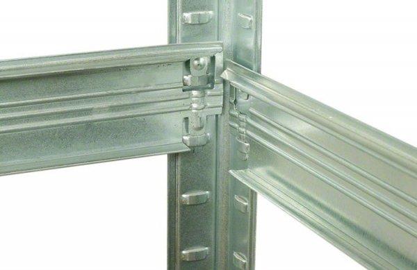 Metallregal Steck-Lager- Schwerlastregal bis 400 kg pro Boden , verzinkt , HZ_213x075x60, 6 Böden