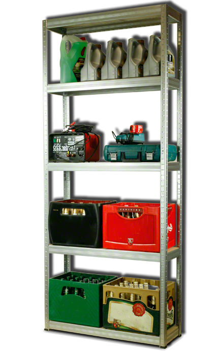 Metallregal Steck-Lager- Schwerlastregal bis 400 kg pro Boden , verzinkt , HZ_196x110x35, 5 Böden