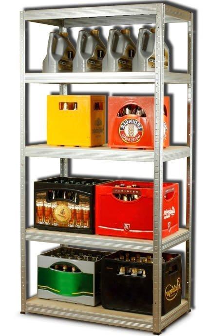 Metallregal Steck-Lager- Schwerlastregal bis 400 kg pro Boden , verzinkt , HZ_180x090x50, 5 Böden
