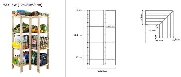 Holzregal, Lagerregal. Kellerregal Maxi 4W (174x85x50), 4 Böden