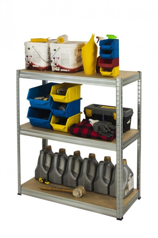 Metallregal Steck-Lager- Schwerlastregal bis 400 kg pro Boden , verzinkt , HZ_106x110x60, 3 Böden