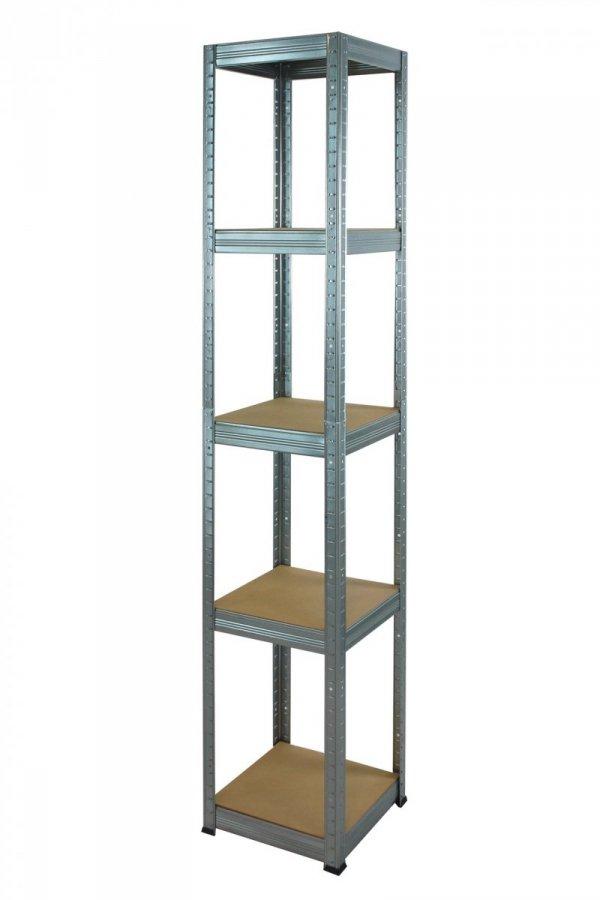Metallregal Steck-Lager- Schwerlastregal bis 175 kg pro Boden , verzinkt , HZ_180x030x30, 5 Böden, Quadratisch
