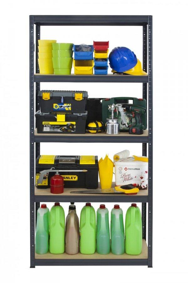 Metallregal Werkstatt Schwerlastregal Helios 196x075x50_5 Böden, Tragkraft bis 400 Kg pro Boden,  Viele Farben zur Auswahl