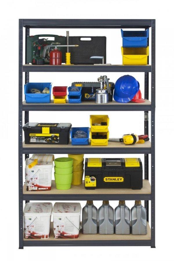 Metallregal Werkstatt Schwerlastregal Helios 196x110x40_6 Böden, Tragkraft bis 400 Kg pro Boden,  Viele Farben zur Auswahl