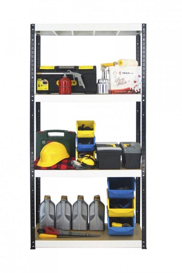 Metallregal Werkstatt Schwerlastregal Helios 180x075x35_4 Böden, Tragkraft bis 400 Kg pro Boden,  Viele Farben zur Auswahl