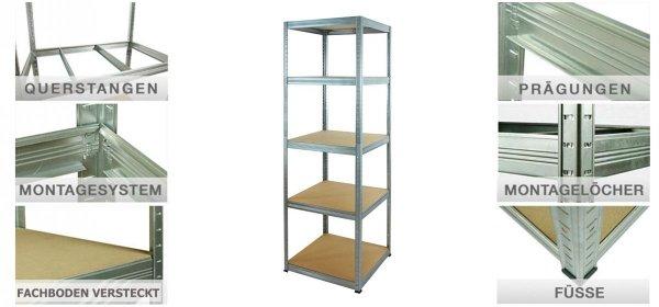Metallregal Steck-Lager- Schwerlastregal bis 175 kg pro Boden , verzinkt , HZ_213x050x50, 6 Böden, Quadratisch
