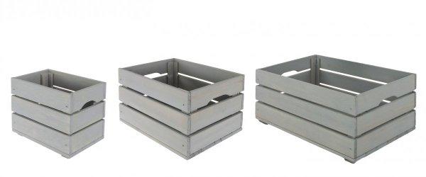 SET Holzkisten Serie SD-3 im 3-er Set in drei Größen, unbehandelt oder geölt