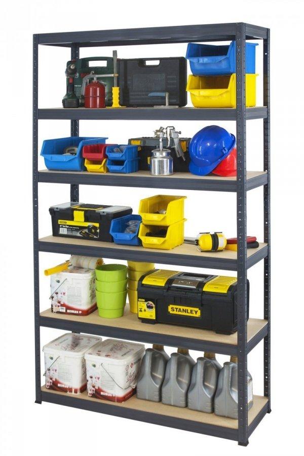 Metallregal Werkstatt Schwerlastregal Helios 213x120x30_6 Böden, Tragkraft bis 400 Kg pro Boden,  Viele Farben zur Auswahl