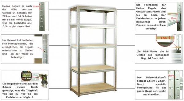 Metallregal Steck-Lager- Schwerlastregal bis 400 kg pro Boden , verzinkt , HZ_090x110x40, 3 Böden